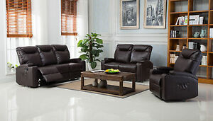 Image Is Loading New Cinema Hollywood Bonded Leather Electric Recliner Sofa