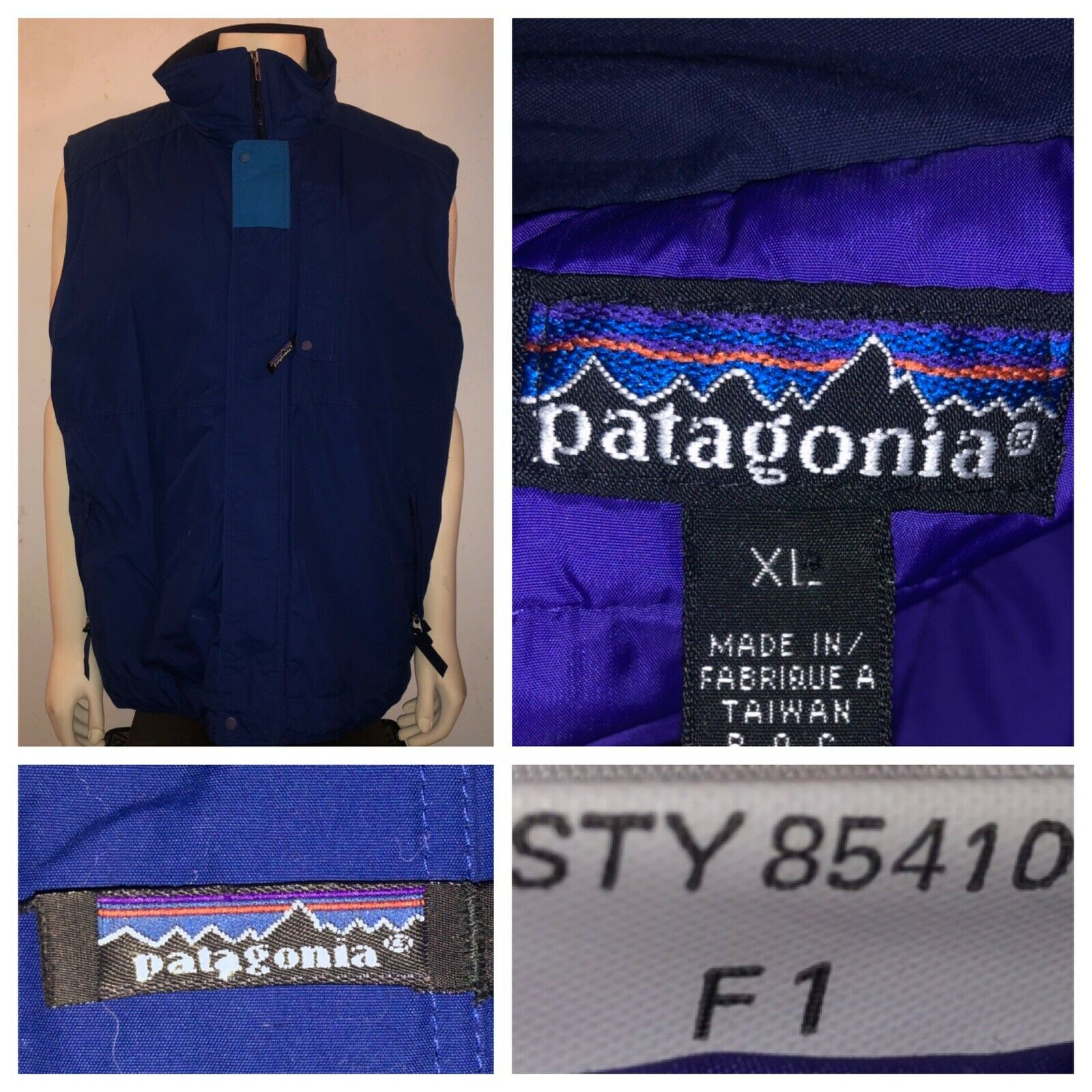 Vtg Patagonia Men's Full Zip bluee Nylon Insulated Ski Snowboard Outdoors Vest XL