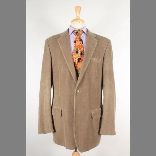 Joseph & Feiss 42L Beige Solid Corduroy Two Button