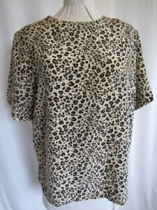 d103d79c8184a Image is loading Silk-Blouse-Animal-Print-Jewel-Neckline-Short-Sleeve-