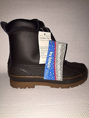 NEW Totes Weather Protectors Boys Brown Boots #4461 Size 3 /& 4