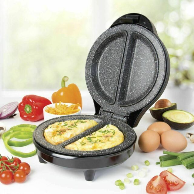 Nutri-Q  Healthy Eating Twin Double Marble Coated Ceramic Plates Omelette Maker