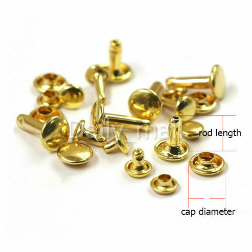 Brass Double Cap Rivets 6//8//10mm Round  Rivet Leather Craft Punk Spike Tack