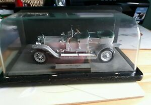 Franklin-Mint-1907-ROLLS-ROYCE-SILVER-GHOST-In-Wood-Perspex-Display-Case