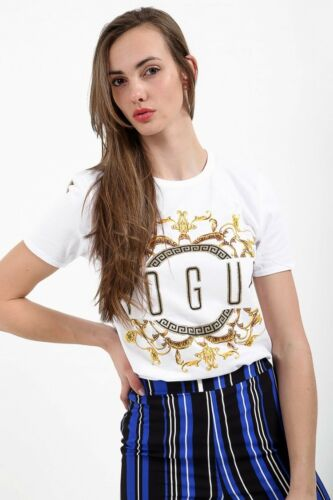 Womens Ladies Floral Embroidered Vouge Short Sleeves Mini T-Shirt Top 8-14