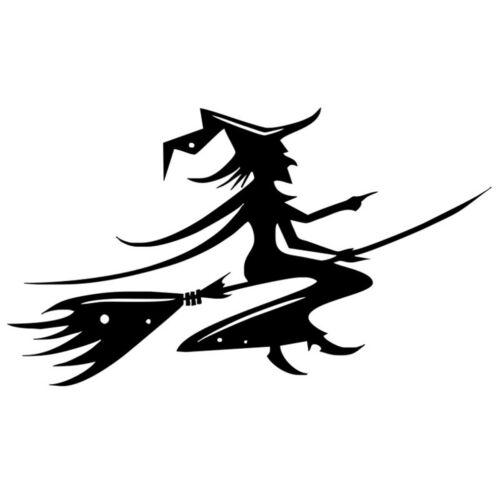 Hallowen Broom Flying Witch Sticker Car Window Bumper Laptop Wall Vinyl Decal