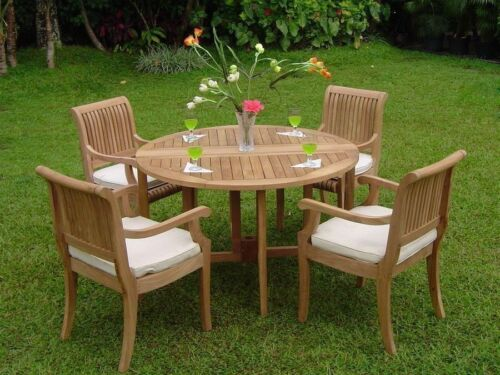 """Giva 5-pc Outdoor Teak Dining Patio: 48"""" Butterfly Round Table, 4 Armless Chairs"""