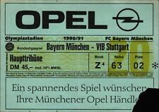 Ticket BL 90/91 FC Bayern München - VfB Stuttgart, Haupttribüne