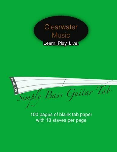 Simply Bass Guitar Tab Blank 4 String Bass Guitar Tab Book - 100 Pages