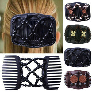 Beads-Elasticity-Double-Hair-Comb-Clip-Stretchy-Hairpin-Clips-Chic-Fashion
