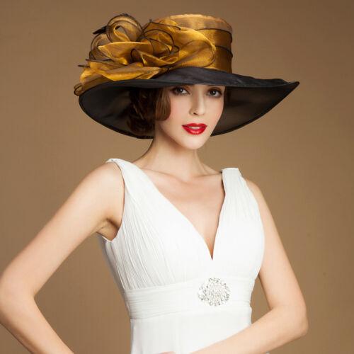 Noble Ladies Organza Womens Dress Wide Brim Floral Derby Hat Wedding Church A045