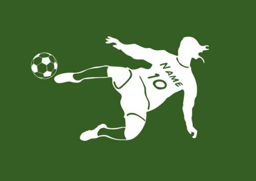 Wandtattoo Wandaufkleber Fussballer mit Namen Nummer Fussball Kinderzimmer WFB01