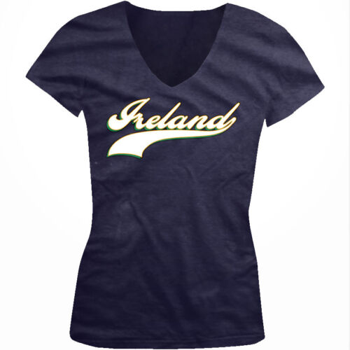Ireland Baseball Script Irish Pride Nationality Eire  Juniors V-neck T-shirt