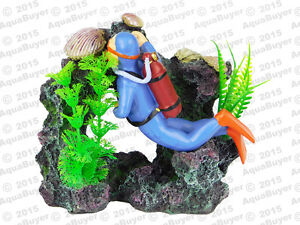 Air action scuba diver aquarium ornament for Aquarium scuba diver decoration