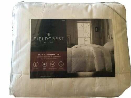 Fieldcrest Warmest Down Loft Comforter King White Cotton Sateen