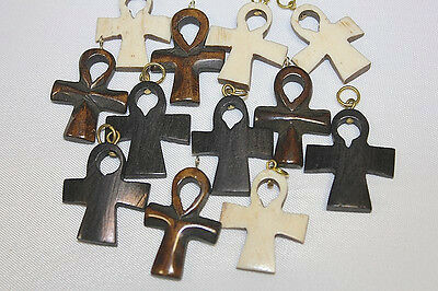30mm Hand Crafted Bone Ankh Pendant - 3 colors -  Mix - 12 pieces per Pack