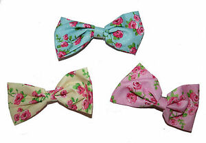 BEAUTIFUL-ROSE-FLORAL-BOW-HAIR-CLIP-FOR-GIRLS-LARGE-CREAM-PINK-BLUE-ACCESSORIES