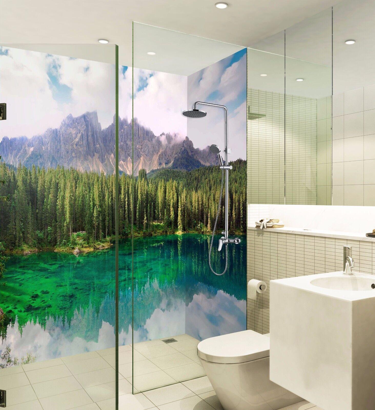 3D River Grün Trees WallPaper Bathroom Print Decal Wall Deco AJ WALLPAPER UK