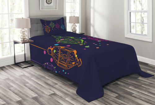 Details about  /Lantern Quilted Bedspread /& Pillow Shams Set Candles in the Night Print