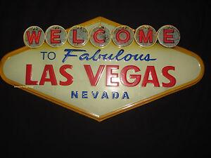 METAL DISPLAY WELCOME LAS VEGAS NEVADA casino retro vintage style art shop home