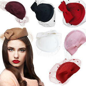 238b597f6f5 Image is loading A082-Lady-Womens-Dress-Fascinator-Wool-Felt-Pillbox-