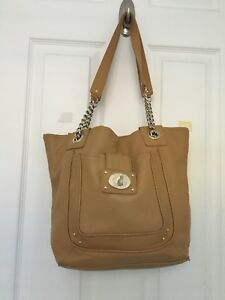 CALVIN-KLEIN-039-Hayden-039-Tote-Extra-Large-Tan-Pebbled-Leather-Chain-Shoulder-Bag