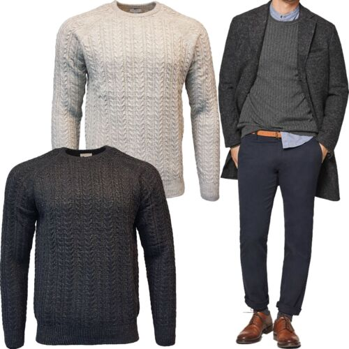 Mens Crew Neck EDC Esprit Fisherman Cable Knit Jumper Pullover Sweater Top New
