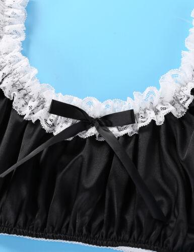 Sissy Mens Satin Lace Training Bra Lingerie Ruffled Bralette Crop Top Underwear