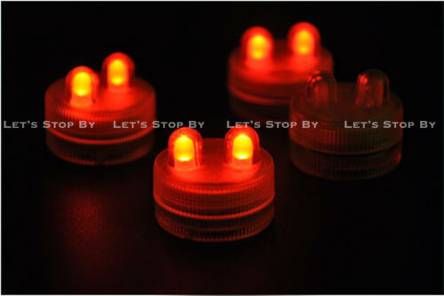 70 RED SUPER Bright Dual LED Tea Light Submersible Floralyte Party Wedding