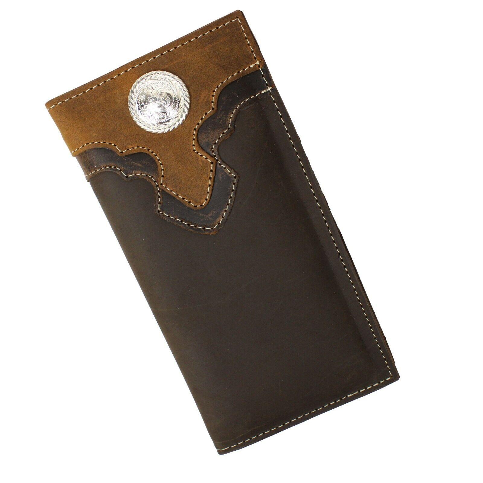 Mens Long Genuine Leather Wallet Western Bi-Fold Check Book Cowboy Rodeo Wallet