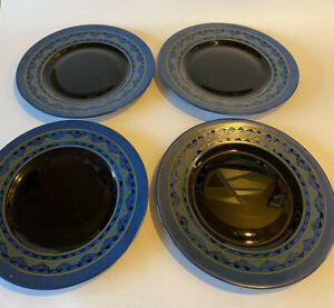 "Set of 4 Arcoroc  France - Yucatan Blue Pattern - 7 3/4"" Salad Plates"