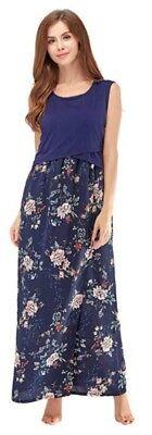 Neue Mode Elegant Maternity Nursing Breastfeeding Long Dress Floral Print,uk8-16 Gute QualitäT