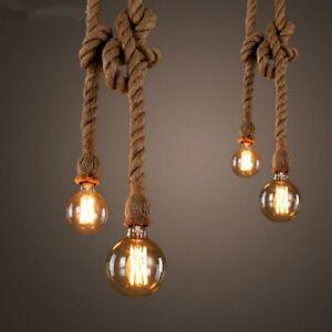 promo code 4416c 3fa13 Details about E27 Vintage light Fittings Hemp Rope Ceiling lamp Loft  Vintage Chandelier 1m UK