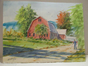 Landscape-Watercolor-A-Red-Barn-in-East-Burke-VT-11-034-x-15-034-Signed-Wilkish