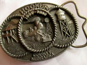True-Vtg-HOOKER-COUNTY-NEBRASKA-CENTENNIAL-1989-Belt-Buckle-for-1-5-034-belts