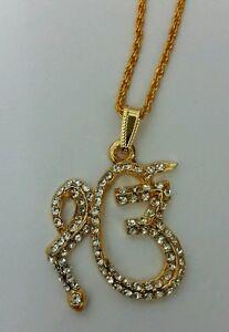 Stunning Rhinestones 24 ct Gold Plated Sikh Khalsa Legend 1 Onkar pendant