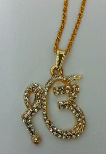 Impresionante Pedrería 24 CT Oro Plateado sij Khalsa leyenda 1 Onkar Colgante