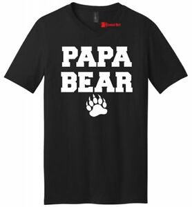 74365307a Papa Bear Funny Mens V-Neck T Shirt Cute Father's Day Gift Shirt New ...