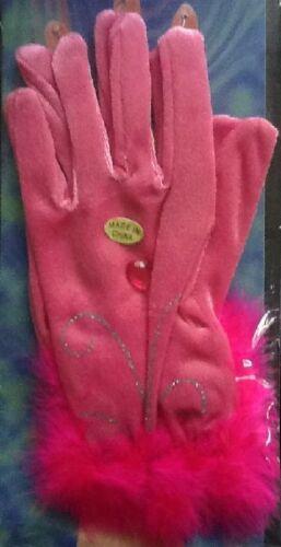 Rose Gants fantaisie avec rose fourrure style TRIM Disp UK