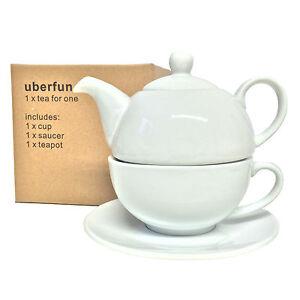 Uberfun-The-pour-un-ensemble-NEUF-en-Porcelaine-Theiere-Tasse-Soucoupe-Blanc-Chine-Cafe