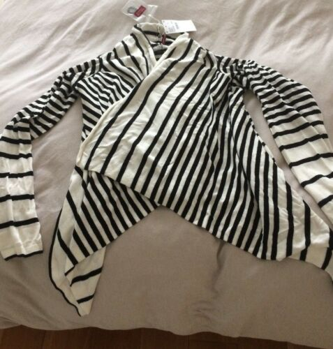 Black Comptoir Stripe Waterfall Des White Bnwt Size Cotonnier 6 And 12 Cardigan TTS4BEq