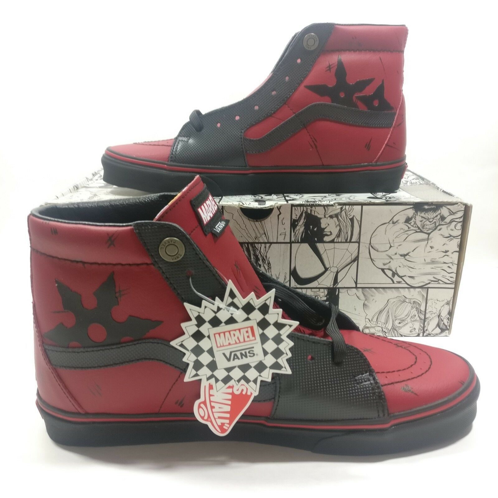 Mens VANS SK8-HI Marvel Deadpool Limited Edition Leather Black Multi Size shoes