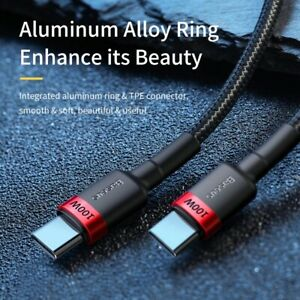 USB C to USB C (Type-C to Type-C) Sync & Charge Cable Braided 50cm Lead 0.5m UK