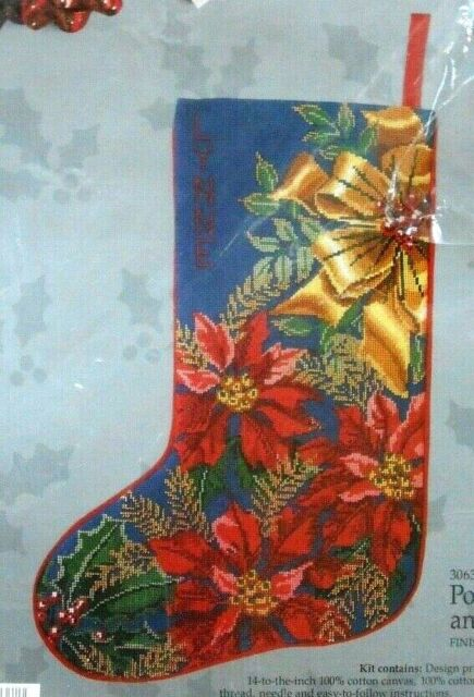 Needlepoint Christmas Stocking Kit.Vtg Needlepoint Christmas Stocking Kit Poinsettias Bows Candamar 30637 Holiday