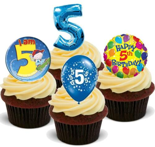 NOVELTY 5TH BIRTHDAY BOY PARTY MIX STAND UP Icing Edible Cake Toppers 5 Five