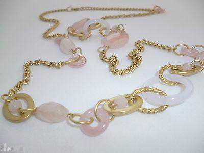 Virgin Vie 'BALLET' Long Necklace Bracelet Earrings Pink Gold White Gift