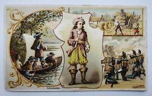 1892 Arbuckle Coffee Trade Card No 30 Louisiana LA LaSalle Farm War Advertising