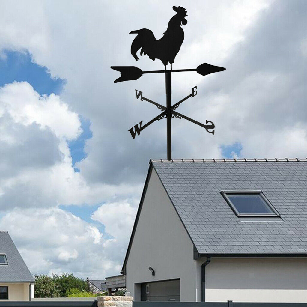 Cock Weathervane Fence Mount Wind Direction Indicator Outdoor Barn Ornament