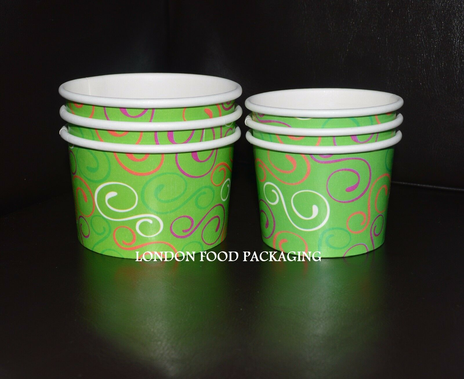 DISPOSABLE PAPER ICE CREAM CUP TUBS TREAT SOUP HARD SCOOPED GELATO CUPS Grün