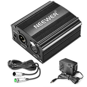 Neewer-1-Channel-48V-Phantom-Power-Supply-w-Adapter-amp-XLR-Cable-f-Music-Recording